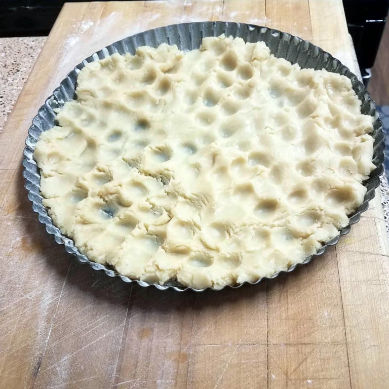 Shortbread pastry crust for a lemon ginger tart.