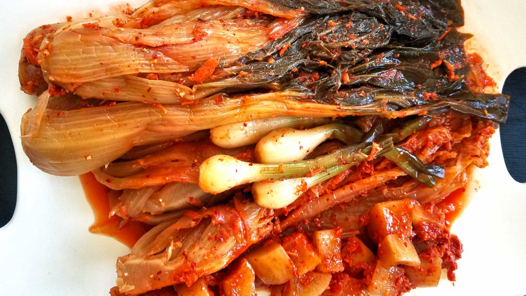 Various Kimchi coated with gochugaru before fermenting