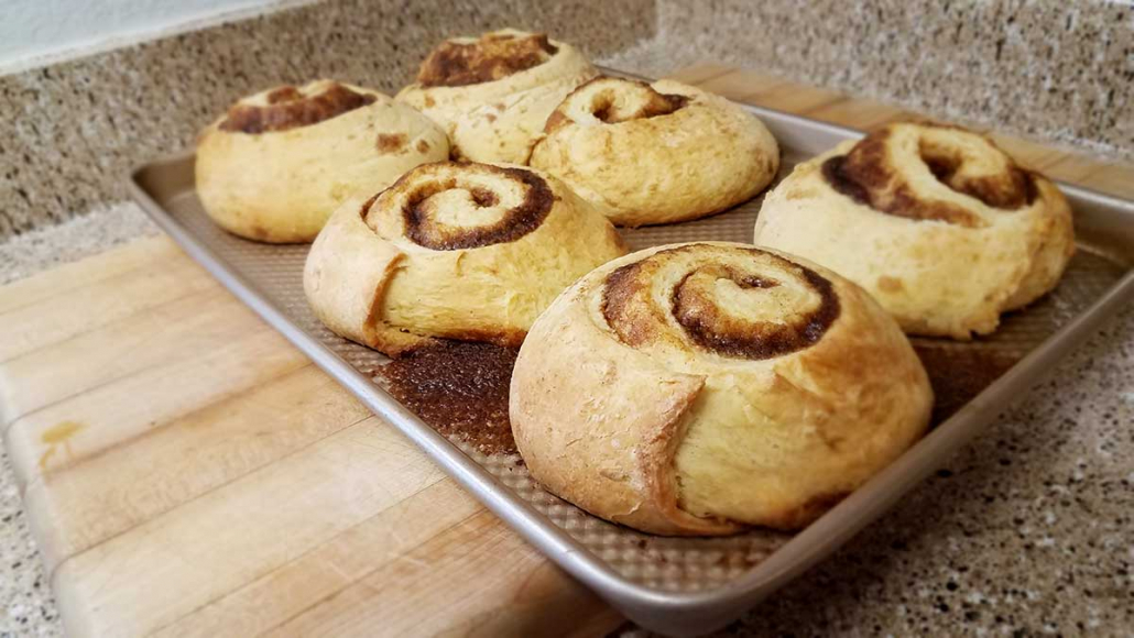 Cinnamon rolls fresh from the oven.